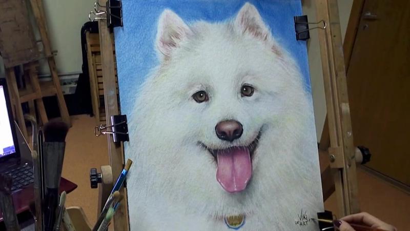 1 Мастер-класс. Как нарисовать собаку маслом на бумаге. Сухая кисть. Рисуем вместе с Viki-ART