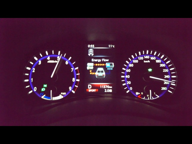 Infiniti Q50 S Hybrid AWD 0-262 km/h (0-163 mph) Acceleration and Top Speed