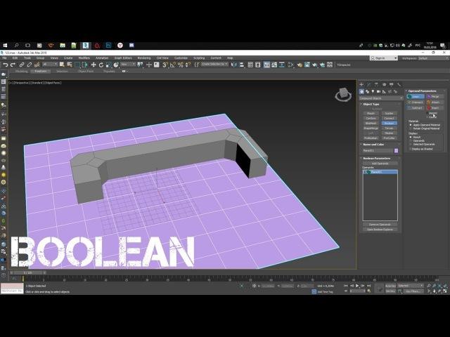 3Ds Max 2018 - Использования Boolean (Как вырезать)