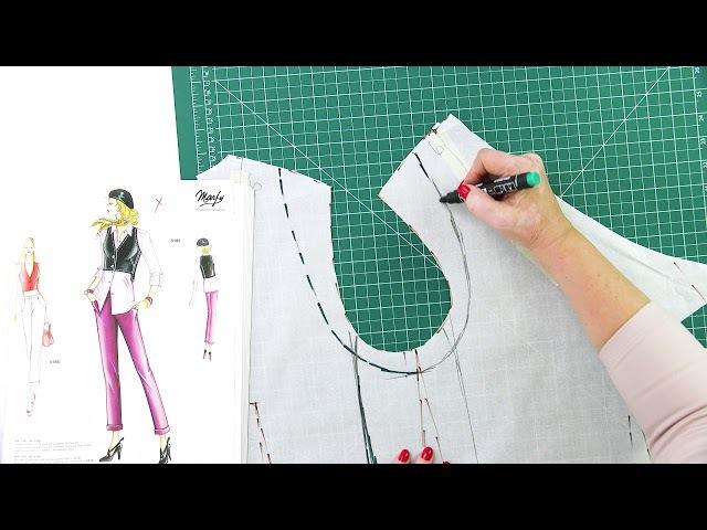 Моделирование и раскрой жилетки к асимметричной юбке с подкройным бочком и косо...