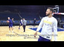 View from GSW practice (2of2), day before Orlando Magic: Steph Curry, Omri Casspi shooting