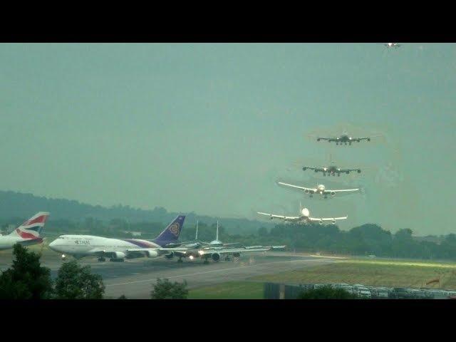 London Heathrow Timelapse Morning 17th June 2014 American airlines, BA, Air Canada 777 Thai 747
