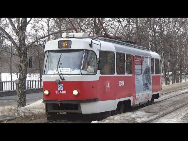 Трамвай Tatra-t3 (МТТА) №30480 с рекламой трамвая Витязь-М и приветливый пассажир