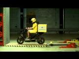 40 kmhr crash test, Краш-тест скутера 40 км в час, лобовое столкновение