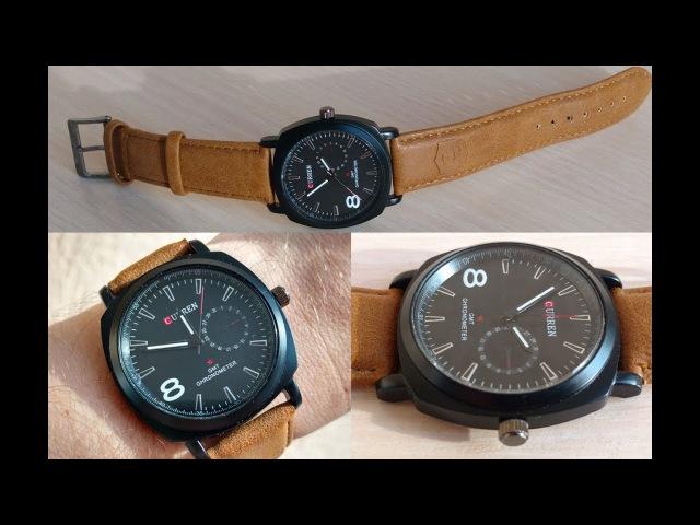 Часы Curren 8139 Black 42мм Коричневый Ремешок
