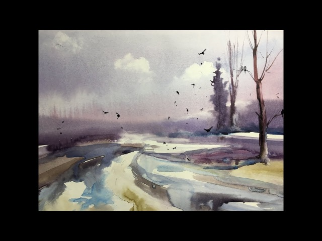 EASY watercolor - WINTER - wet on wet technique