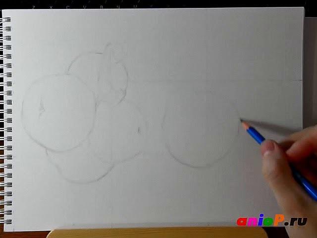 Рисуем зеленые яблоки цветными карандашами. Часть 1