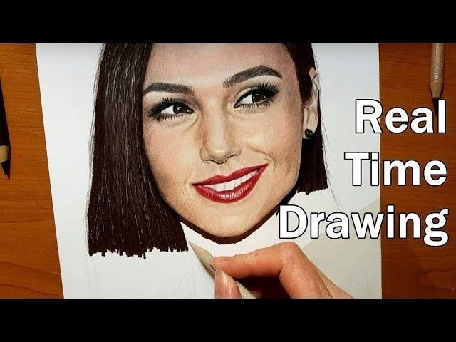 Real Time Drawing: Gal Gadot Portrait in Colored Pencil   Jasmina Susak