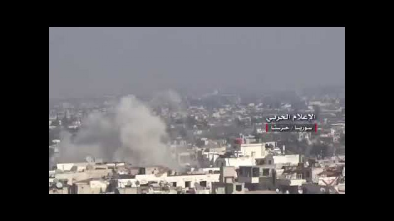 SYRIA:FROM THE ARMY'S VEHICLE BASE IN HARASTA THE S.A.A UNITS TOOK CONTROL OF SEVERAL POINTS