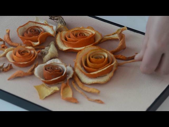 Как сделать картину из апельсиновой кожуры?