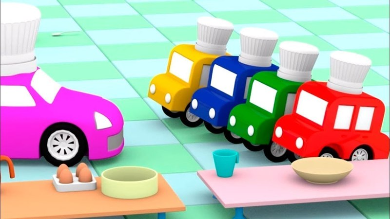 4 coches coloreados cocinan. Dibujos animados en español.