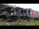 Поезд после аварии в ХМАО