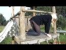 Playground Fun in pantyhose and sneakers
