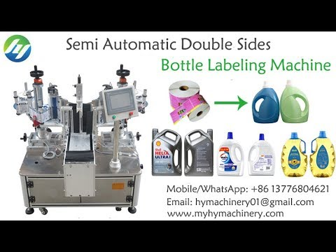 Semi automatic double sides non-dry adhesive sticker labeling machine