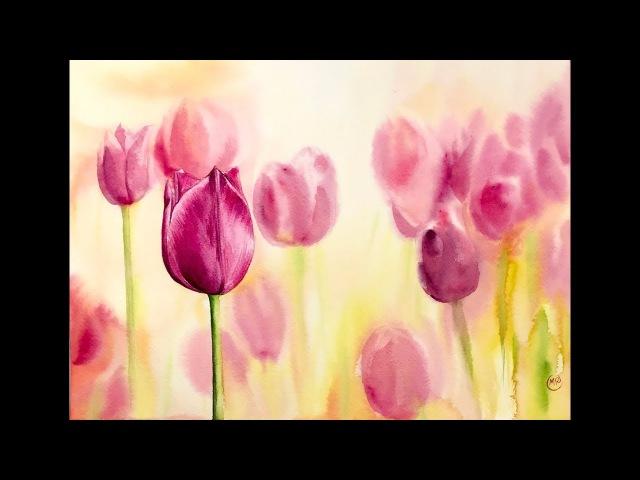 Tulips in Watercolors Painting Tutorial