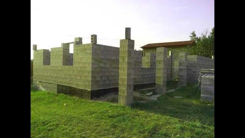3 Строительство дома из блоков. Кладка восьмого - двенадцатого ряда, перемычки.