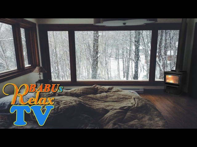 8 HOURS WINTER WINDOW SNOW SCENE - Burning Stove with Crackling Fire Sounds and Snow storm
