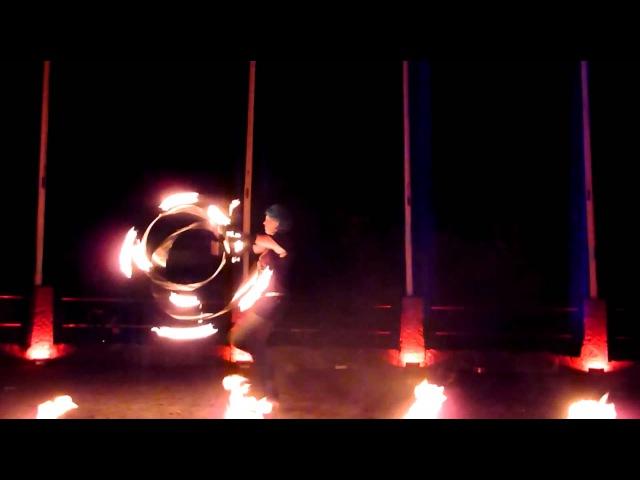 Emma Kenna AC/DC Fire Hoop at www.Hoop-The-Castle.de
