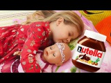 BAD BABY Born Doll Steals Chocolate Nutella Johny Johny Yes Papa Nursery Rhymes Songs for kids