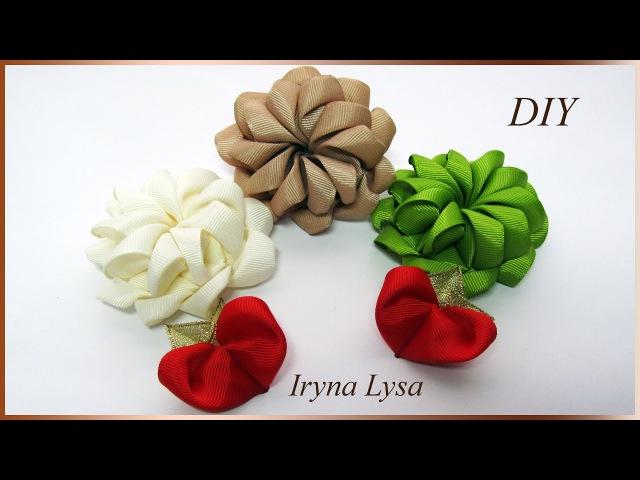 Как сделать цветок из репсовой ленты 4см, лепесток ❤Сердечко, МК, DIY Ribbon flower, petal❤