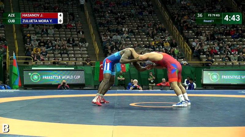 Round 1 FS - 79 kg: J. HASANOV (AZE) v. Y. ZULUETA MORA (CUB)