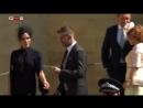 Victoria Beckham arrives for the royal wedding in a figure hugging navy pencil dress