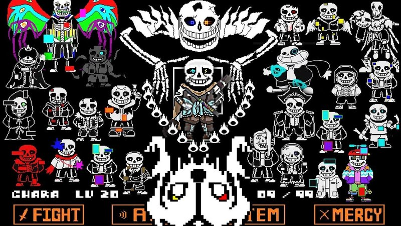 EVERY AU SANS IN ONE BATTLE Ultimate Ink Sans Fight