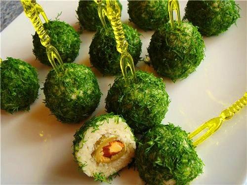 зеленые шарики из сыра