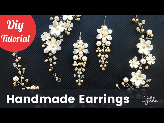 How to Make Bridal Earrings. Easy Quick Wedding Pearl Earrings. DIY Craft Idea.