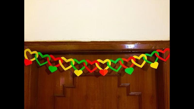 Paper Heart Door Decor | DIY Door hanging decoration | Valentine day gift and decor ideas
