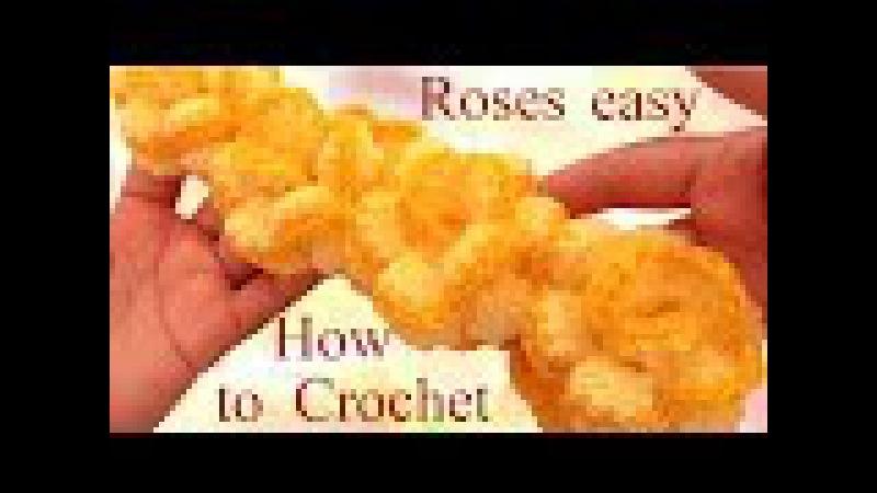 Como hacer rosas continuas con Crochet aprende fácil a tejer - How to crochet a flower