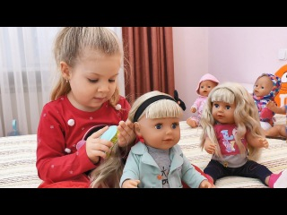 Diana plays with Baby Born dolls, New doll BABY born Sister in a new style! Videos for kids