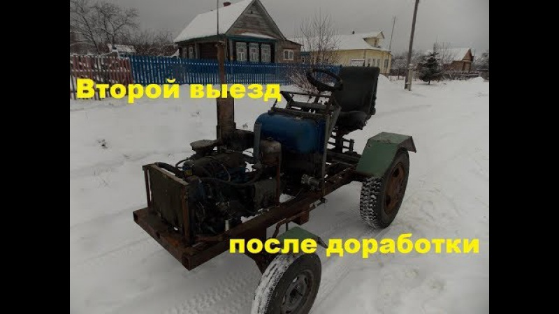 Самодельный трактор.Процесс сборки.Второй пробный выезд.83