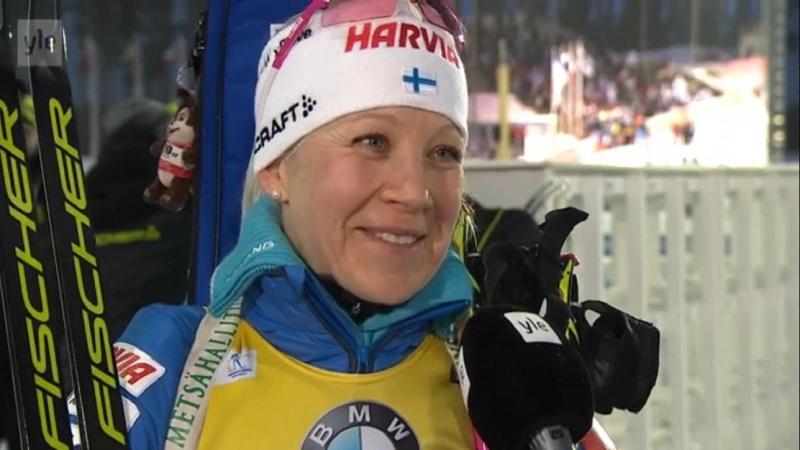 Kaisa Mäkäräinen interview after mass start in Kontiolahti 11.03.18
