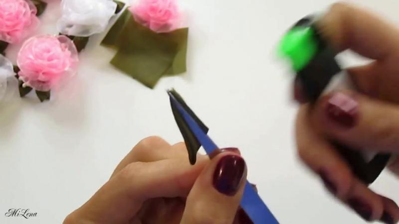 ПРОСТЫЕ РОЗОЧКИ ИЗ ОРГАНЗЫ, МК _ DIY Beautiful Organza Roses (simple way)