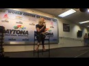 Charlize Theron, honorary starter of the Daytona 500, talks to press