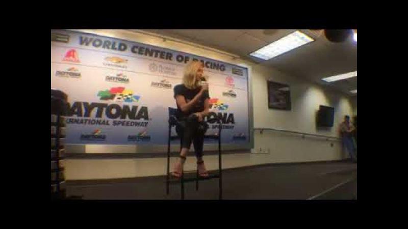Charlize Theron, honorary starter of the Daytona 500, talks to press