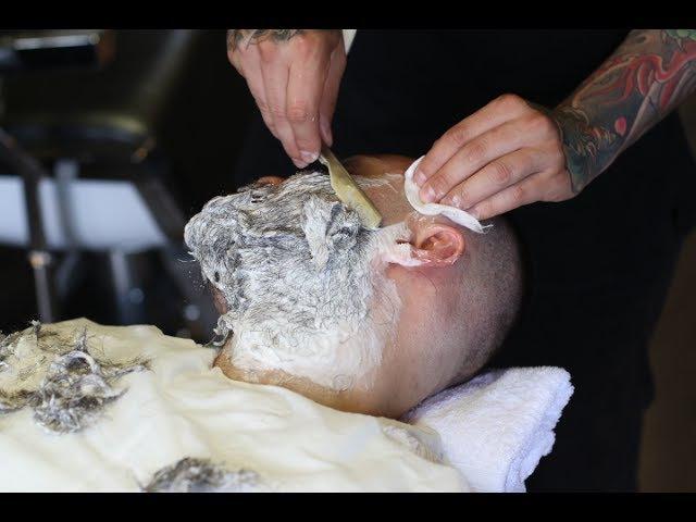 Как правильно брить опасной бритвой/СПА-процедура для мужчин/Санкт-Петербургская школа барберов