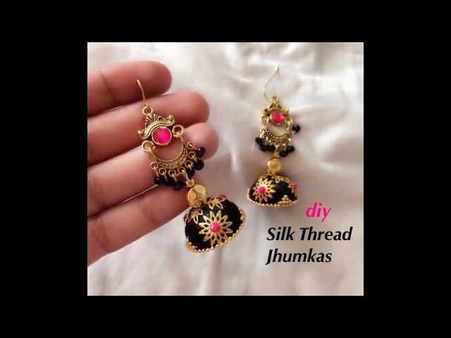 How to make designer silk thread jhumkas||Making beautiful silk thread earrings