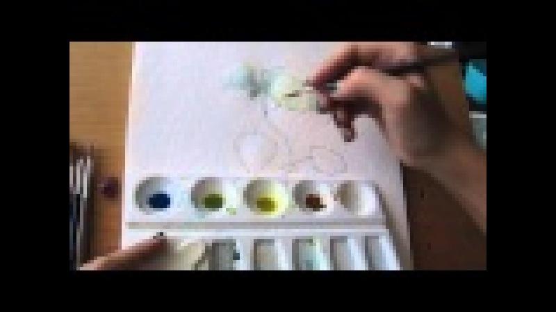 Рисуем акварелью мелиссу