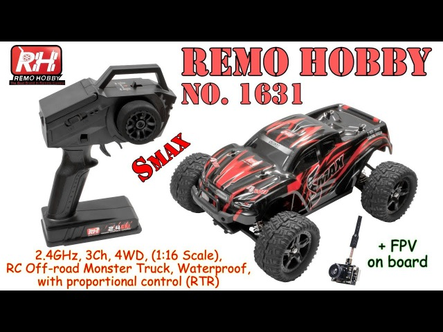 REMO HOBBY 1631 (Smax) 2.4GHz, 3Ch, 4WD, 1:16 Scale RC Off-road Monster Truck, Waterproof (RTR)