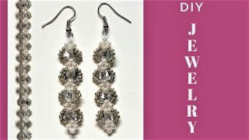 Beading tutorial. Handmade jewelry. DIY Elegant bracelet and earrings-gift ideas.