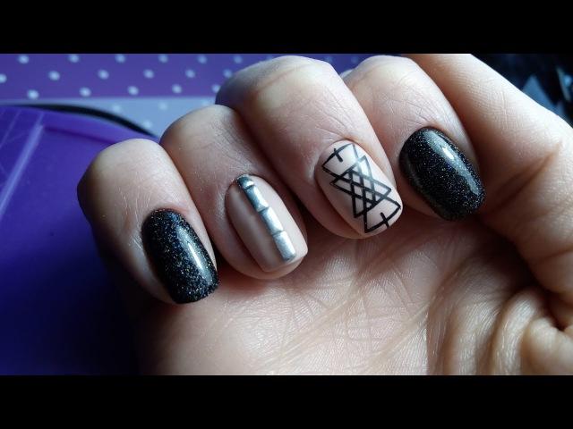 Весенний дизайн ногтей! Какая весна - такие цвета)) Клепки, стемпинг, черный с блестками!