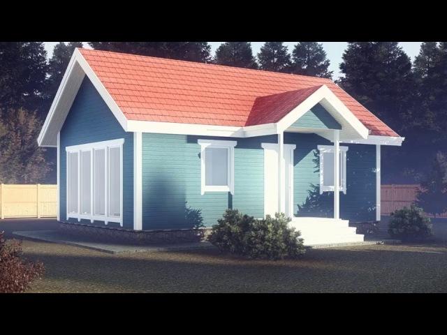 Проект каркасно-панельного дома 6х9 м. Обзор 3D модели.