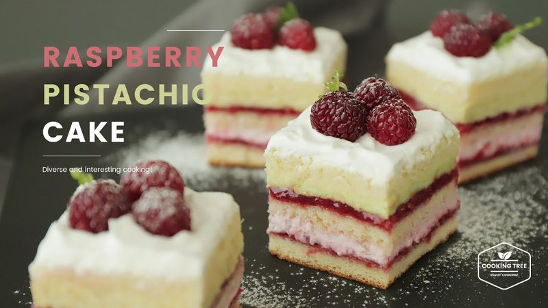 라즈베리 피스타치오 레이어 케이크 만들기 Raspberry pistachio layer cake Recipe - Cooking tree 쿠킹트리*Cooking ASMR