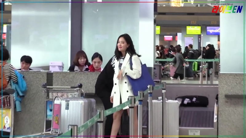 180316 Airport. Hyomin heading to HK
