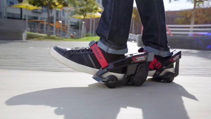 Первые в мире электроролики для обуви Razor Turbo Jetts в действии