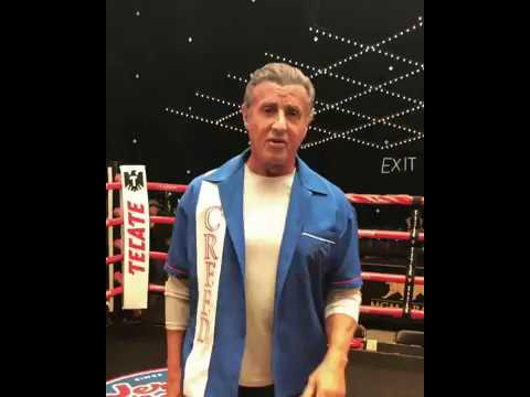 Sylvester Stallone in the ring on the set of Creed 2