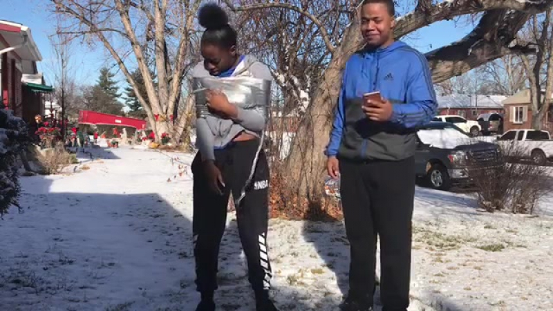 Hilarious Duck Tape Challenge in the Snow