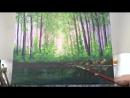3 Акрил Весенние Краски в Лесу Рисуем деревья Камни воду Spring Forest and stream in acrylic Татьяна Бекер